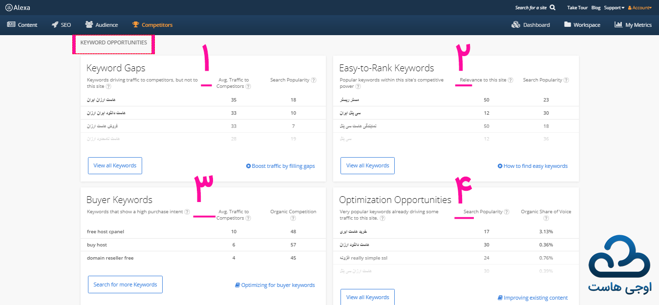 بررسی بخش KEYWORD OPPORTUNITIES